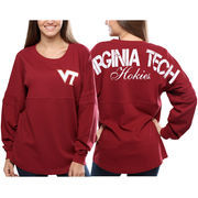 Women's Virginia Tech Hokies Red Pom Pom Jersey Oversized Long Sleeve T-Shirt