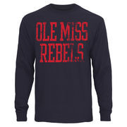 Mens Ole Miss Rebels Navy Blue Straight Out Long Sleeve T-Shirt