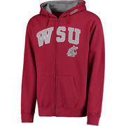 Men's Crimson Washington State Cougars Arch & Logo Full-Zip Hoodie
