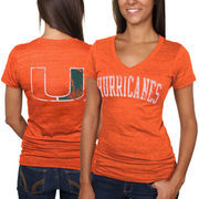 Miami Hurricanes Women's Slab Serif Tri-Blend V-Neck T-Shirt - Orange