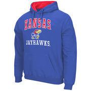 Mens Kansas Jayhawks Royal Blue Arch & Logo Mascot Pullover Hoodie