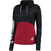 Women's Colosseum Black/Crimson Washington State Cougars Scaled Cowl Neck Pullover Hoodie