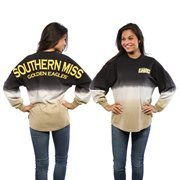 Women's Black Southern Miss Golden Eagles Ombre Long Sleeve Dip-Dyed Spirit Jersey