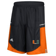 Men's adidas Black Miami Hurricanes Player Sideline climalite Shorts