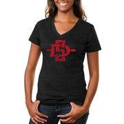 San Diego State Aztecs Women's Distressed Secondary Tri-Blend V-Neck T-Shirt - Black