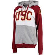 Women's Gray/Cardinal USC Trojans Primeton Full-Zip Hoodie