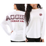 Women's Texas A&M Aggies White Aztec Sweeper Long Sleeve Oversized Top