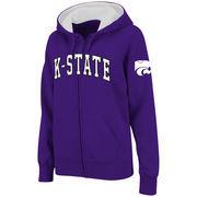 Women's Stadium Athletic Purple Kansas State Wildcats Arched Name Full-Zip Hoodie