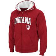 Men's Stadium Athletic Crimson Indiana Hoosiers Arch & Logo Full Zip Hoodie