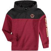 Youth Colosseum Heathered Maroon/Charcoal Boston College Eagles Fleece Quarter-Zip Hoodie