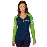 Women's Majestic Navy Seattle Seahawks Lead Play Raglan Long Sleeve T-Shirt