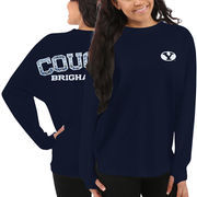 Women's BYU Cougars Navy Blue Aztec Sweeper Long Sleeve Oversized Top