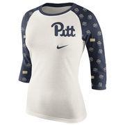 Women's Cream/Navy Pitt Panthers Veer Pattern Tri-Blend 3/4-Sleeve Raglan T-Shirt