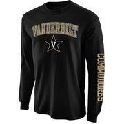 Men's New Agenda Black Vanderbilt Commodores Distressed Arch & Logo Long Sleeve T-Shirt