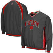 Men's Colosseum Charcoal Wisconsin Badgers Fair Catch Pullover Jacket