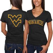 West Virginia Mountaineers Women's Slab Serif Tri-Blend V-Neck T-Shirt - Navy Blue