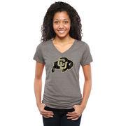 Women's Gray Colorado Buffaloes Classic Primary Tri-Blend V-Neck T-Shirt