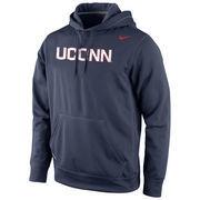 UConn Huskies Nike Warp Logo Therma-FIT Hoodie - Navy Blue