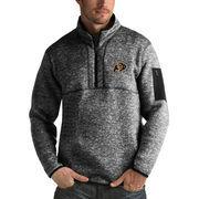Men's Antigua Heathered Black Colorado Buffaloes Fortune 1/2-Zip Pullover Sweater