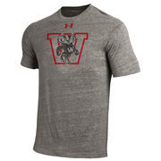 Men's Under Armour Heathered Gray Wisconsin Badgers W Logo Tri-Blend T-Shirt