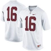 Men's Nike White Alabama Crimson Tide #16 Game Football Jersey