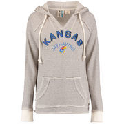 Women's Blue 84 Cream Kansas Jayhawks Striped French Terry V-Neck Pullover Hoodie