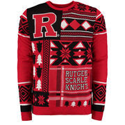 Men's Red Rutgers Scarlet Knights Patches Ugly Sweater