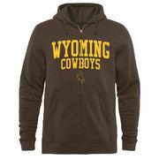 Men's Brown Wyoming Cowboys Arched School Name & Mascot Full-Zip Hoodie