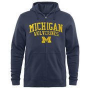 Men's Navy Michigan Wolverines Arched School Name & Mascot Full-Zip Hoodie