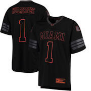Men's Colosseum #1 Black Miami Hurricanes Blackout Football Jersey