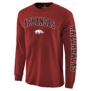 Men's Fanatics Branded Cardinal Arkansas Razorbacks Distressed Arch Over Logo Long Sleeve Hit T-Shirt