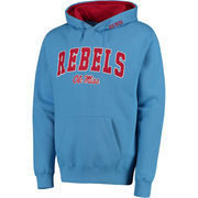 Men's Light Blue Ole Miss Rebels Arch & Logo Pullover Hoodie
