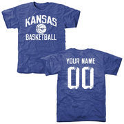 Royal Kansas Jayhawks Personalized Distressed Basketball Tri-Blend