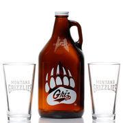 Orange Montana Grizzlies Growler Jug and Pint Glass Set