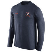 Men's Nike Heathered Navy Virginia Cavaliers Touch Performance Long Sleeve T-Shirt