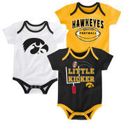 Newborn & Infant Black Iowa Hawkeyes 3-Points 3-Pack Bodysuit Set