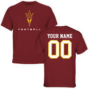 Men's Maroon Arizona State Sun Devils Personalized Football T-Shirt