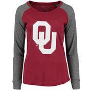 Women's Garnet Oklahoma Sooners Preppy Elbow Patch Slub Long Sleeve T-Shirt