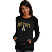 Women's New Agenda Black Appalachian State Mountaineers Crew Neck Fleece Pullover