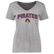 Women's Ash East Carolina Pirates Proud Mascot Slim Fit T-Shirt