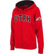 Women's Stadium Athletic Red Utah Utes Arched Name Full-Zip Hoodie
