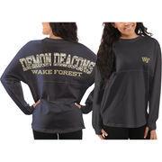 Women's Wake Forest Demon Deacons Black Aztec Sweeper Long Sleeve Oversized Top