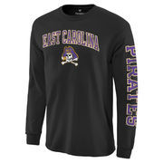 Men's Fanatics Branded Black East Carolina Pirates Distressed Arch Over Logo Long Sleeve Hit T-Shirt