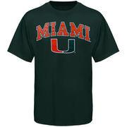Mens Green Miami Hurricanes Arch Over Logo T-Shirt
