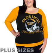 Southern Miss Golden Eagles Women's Plus Sizes Raglan Three-Quarter Sleeve T-Shirt - Navy Blue/Gold
