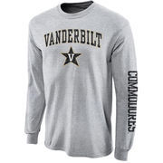 Men's New Agenda Gray Vanderbilt Commodores Distressed Arch & Logo Long Sleeve T-Shirt