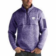 Men's Antigua Heathered Purple Kansas State Wildcats Fortune 1/2-Zip Pullover Sweater