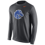 Men's Nike Anthracite Boise State Broncos Cotton Logo Long Sleeve T-Shirt