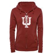 Women's Crimson Indiana Hoosiers Classic Primary Logo Full Zip Hoodie