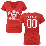 Women's Red Nebraska Cornhuskers Personalized Distressed Football Tri-Blend V-Neck T-Shirt